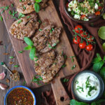 BBQ Lamb Leg Steaks with Harissa and Mint