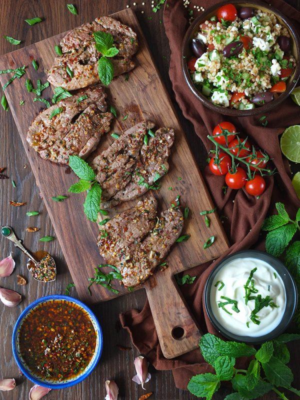 BBQ Lamb Leg Steak with Harissa and Mint