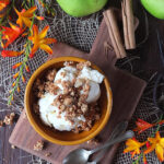 No Churn Apple Cinnamon Swirl Ice Cream with Honey Almond Granola Clusters