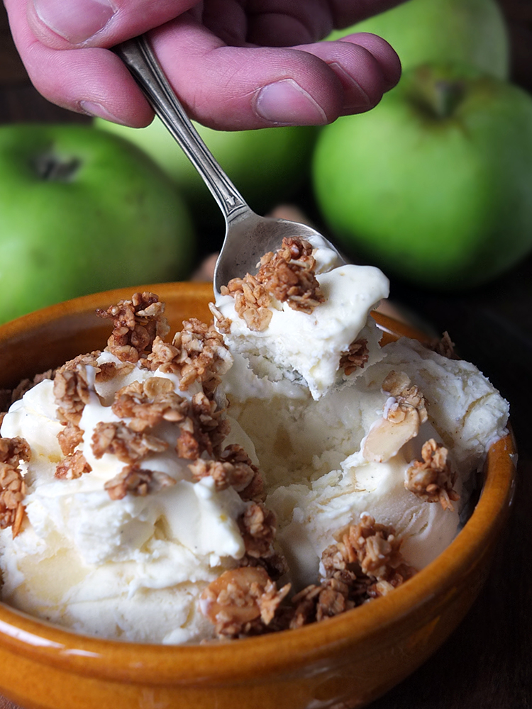 No Churn Apple Cinnamon Swirl Ice Cream with Granola Clusters