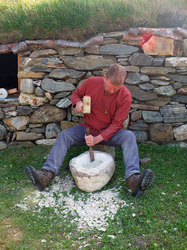 Carving a Viking Soapstone Bowl