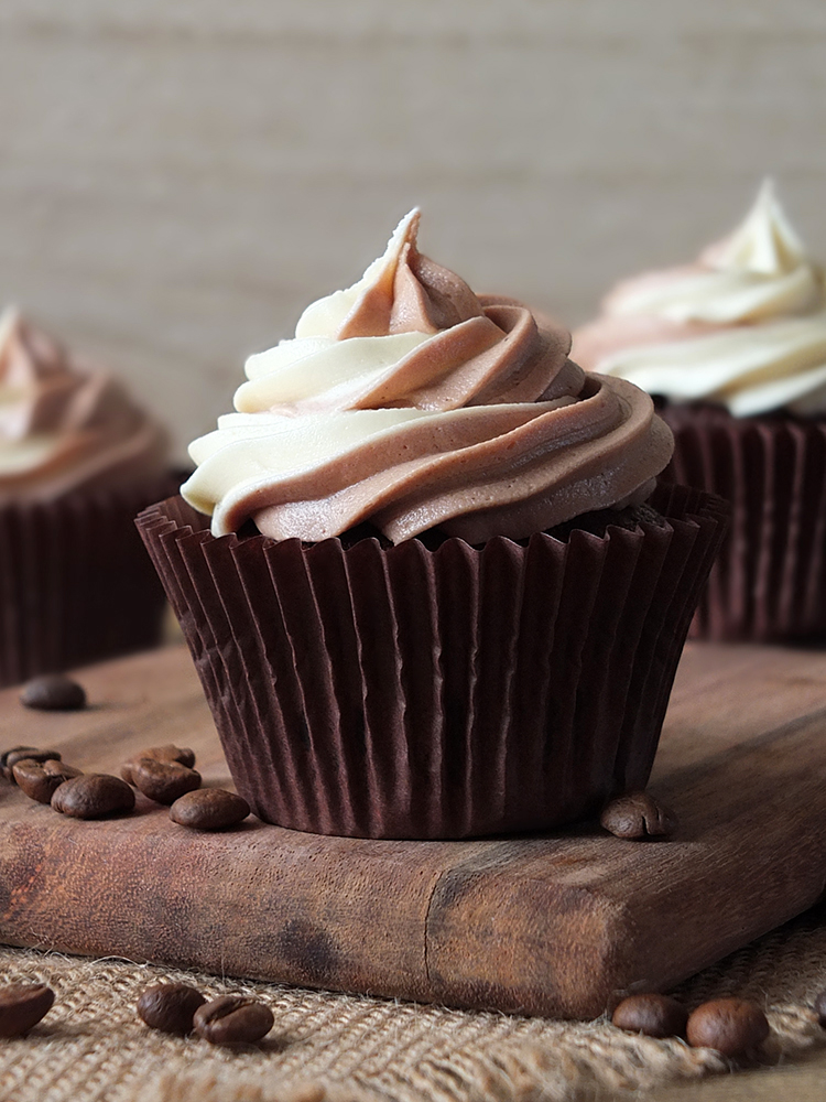 Chocolate and Coffee Cupcakes with Swirl Frosting