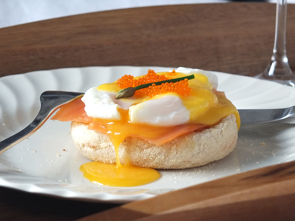 Luxury Breakfast in Bed Eggs Benedict with Smoked Salmon
