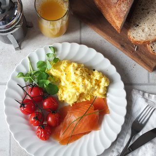 Sunday Morning Scrambled Eggs with Smoked Scottish Salmon and Roasted Tomatoes