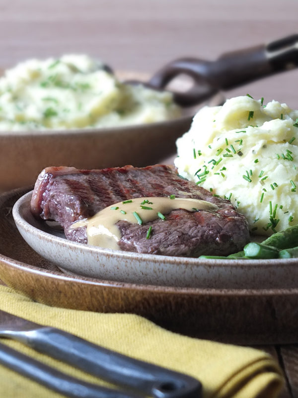 Cream Cheese and Chive Mashed Potatoes with Steak