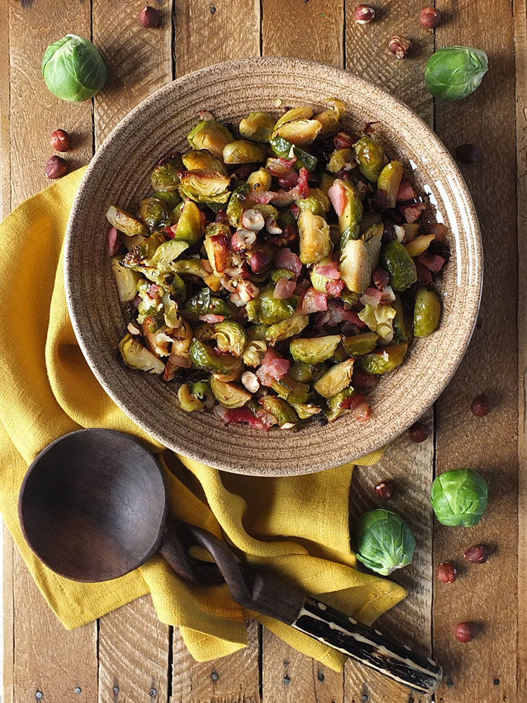 Maple Roasted Brussels Sprouts with Bacon and Hazelnuts
