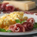 Grana Padano Scrambled Eggs with Prosciutto di San Daniele Roses