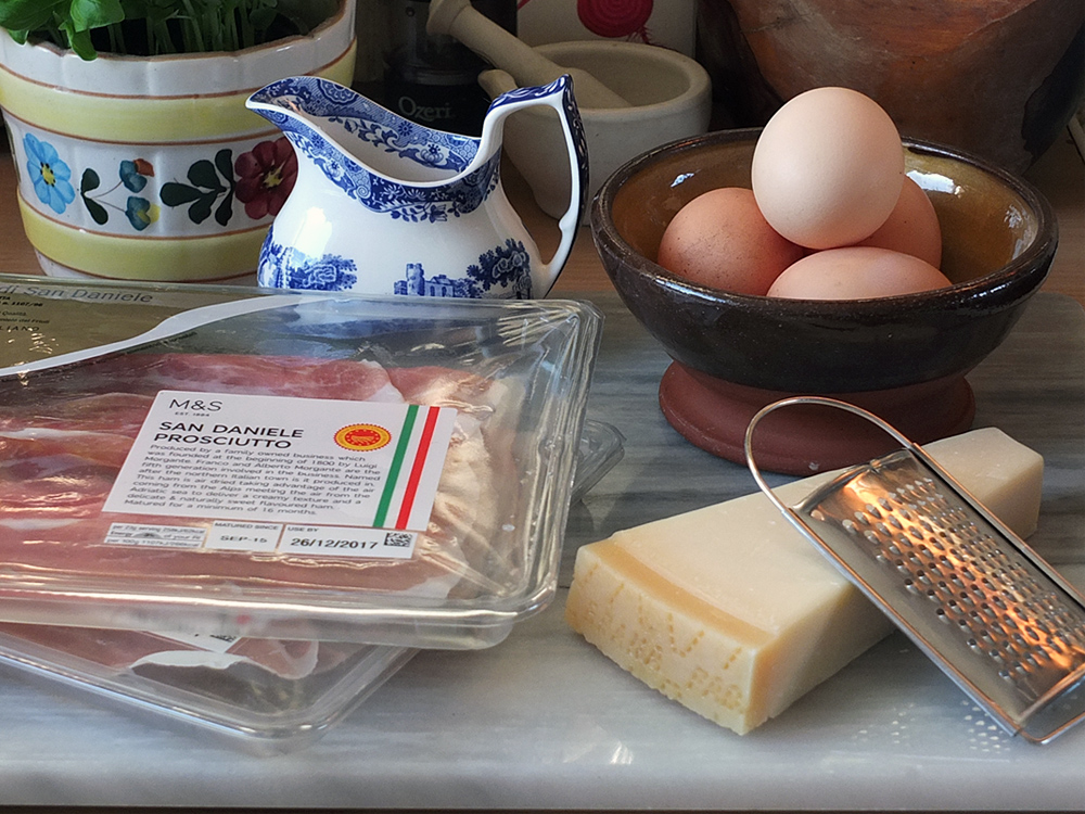 Grana Padano Scrambled Eggs with Prosciutto di San Daniele Roses Ingredients