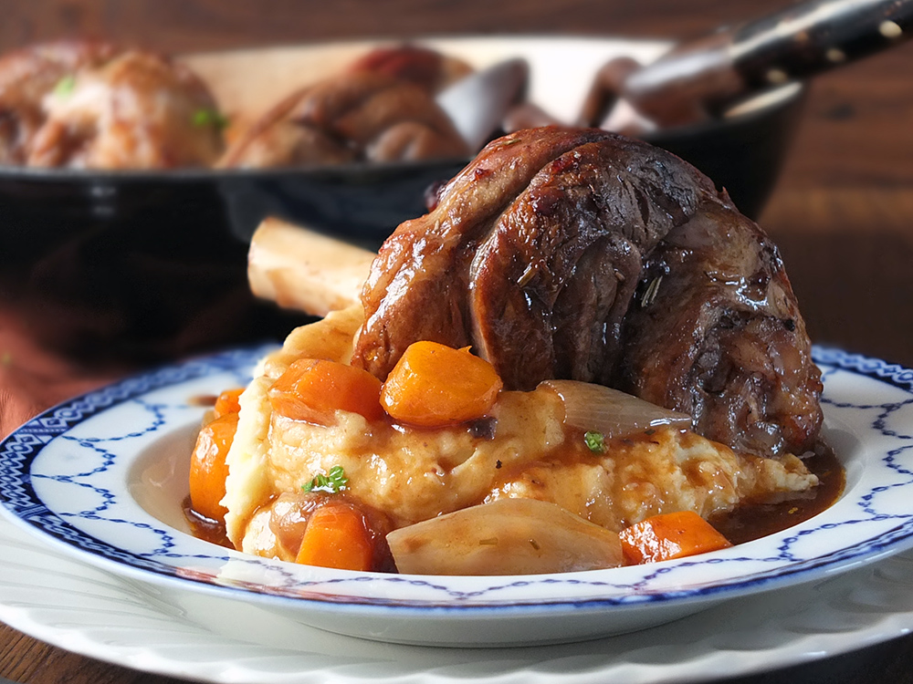 Slow Cooked Lamb Shanks with Vegetables and Gravy