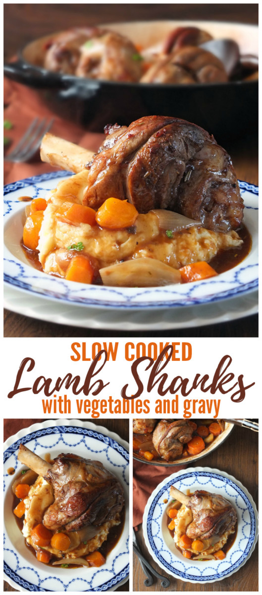 Slow Cooked Lamb Shanks with Vegetables and Gravy Pinterest