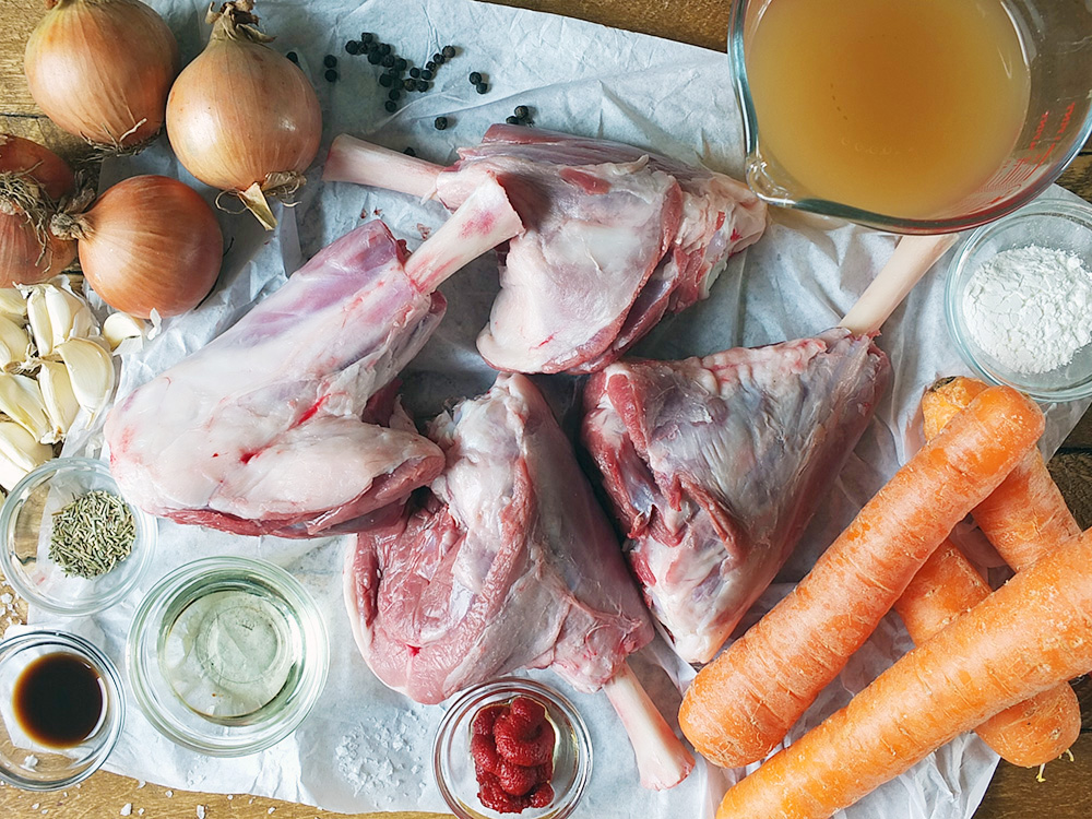 Slow cooked lamb shanks ingredients