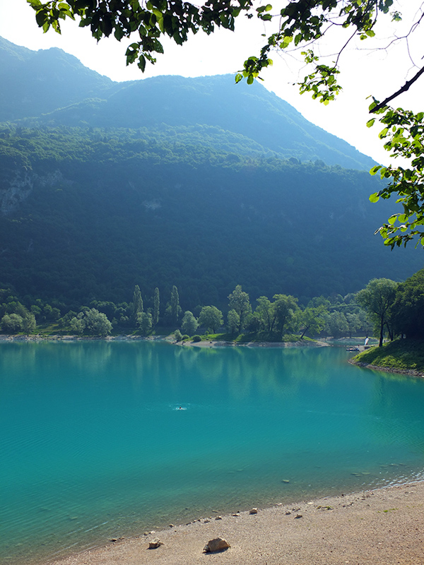 Swimming in Lago di Tenno Lake Italy