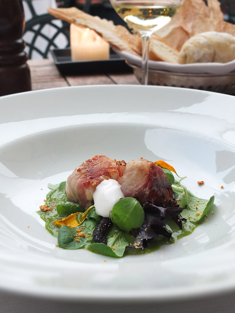 Roasted Rabbit Salad with Smoked Pancetta and Dro Plums