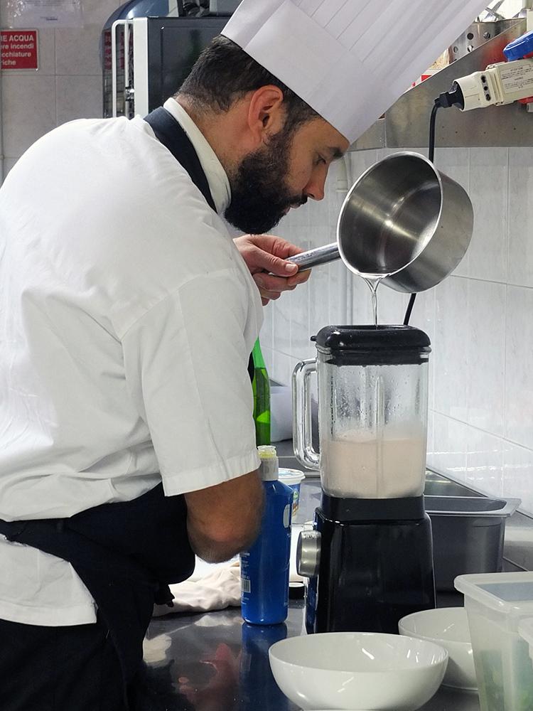 Villetta Annessa Riva del Garda Luca Bombardelli making fake mayonnaise