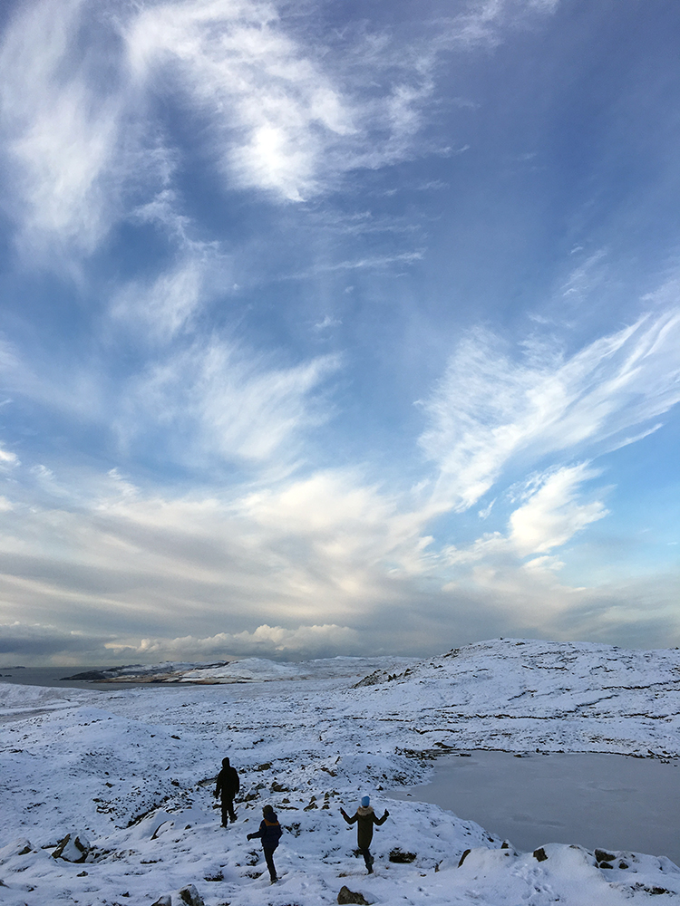 Winter in Shetland, hillwalking in Gonfirth
