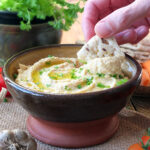 Creamy Roasted Garlic Hummus dipping bread