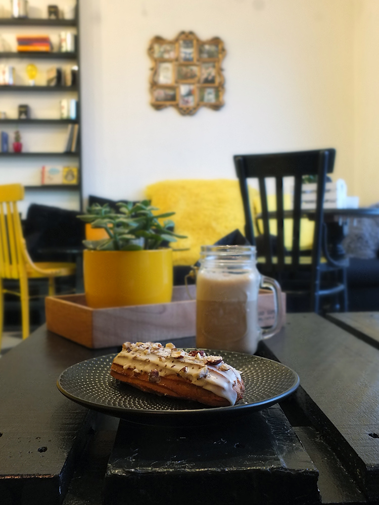 Hazelnut and Maple Syrup Eclair at The Fat Cat Cafe Riga Latvia