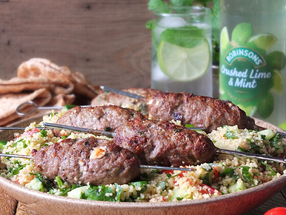 Grilled Lamb Skewers with Feta & Mint