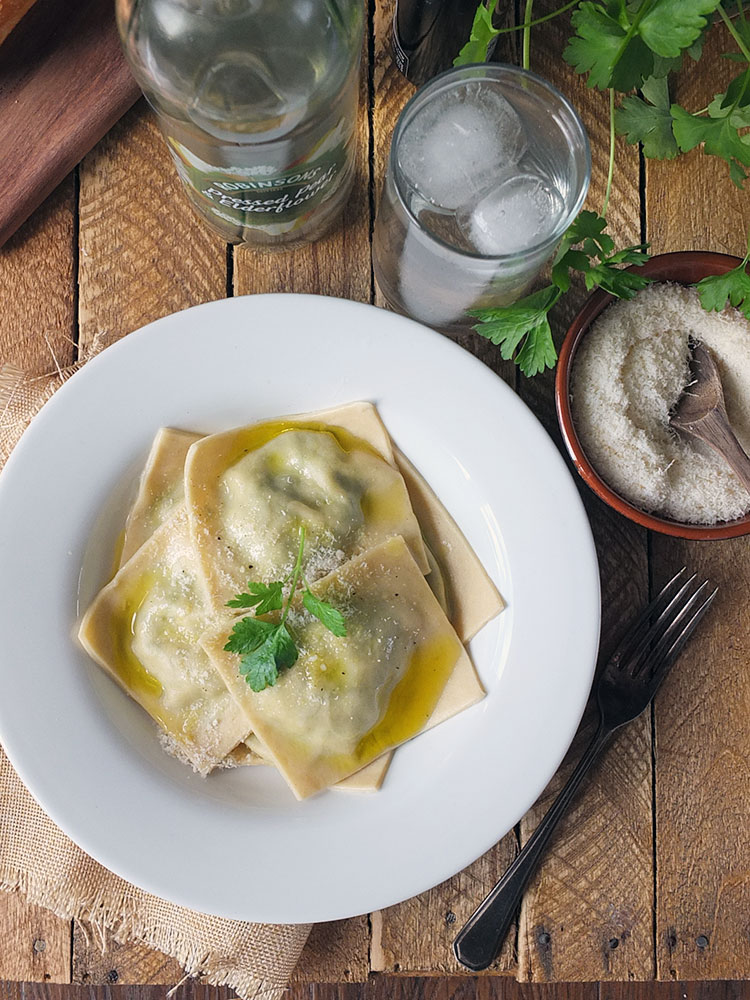 Spinach and Ricotta Ravioli with Olive Oil and Parmesan Cheese