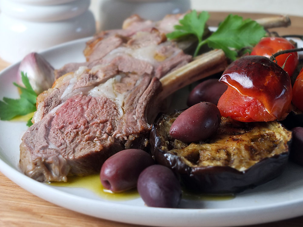 Tray-baked Rack of Lamb with Mediterranean Veg & Mint Olive Oil