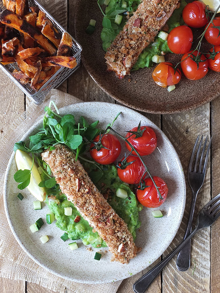 aked nut-crusted salmon with pea puree & crispy sweet potato fries