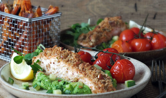 Baked Nut-Crusted Scottish Salmon with Pea Puree & Crispy Sweet Potato Fries