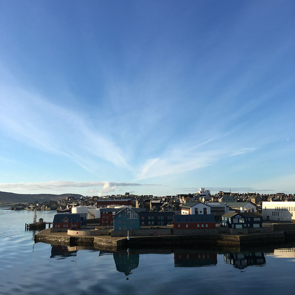 View from the ferry of the Lerwick Waterfront, Shetland Islands