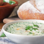 Creamy Potato & Chervil Soup with a Poached Egg