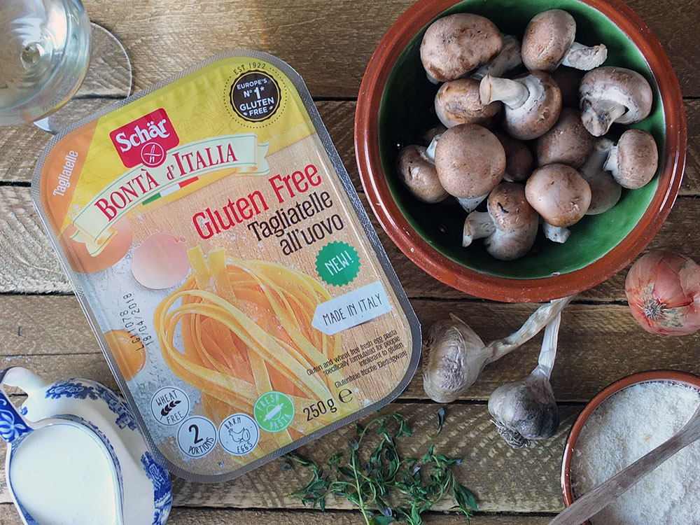 Gluten Free Tagliatelle with a Creamy Mushroom, White Wine & Thyme Sauce