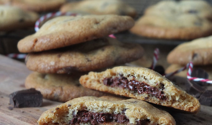 Chocolate Hazelnut Stuffed Chocolate Chip Cookies