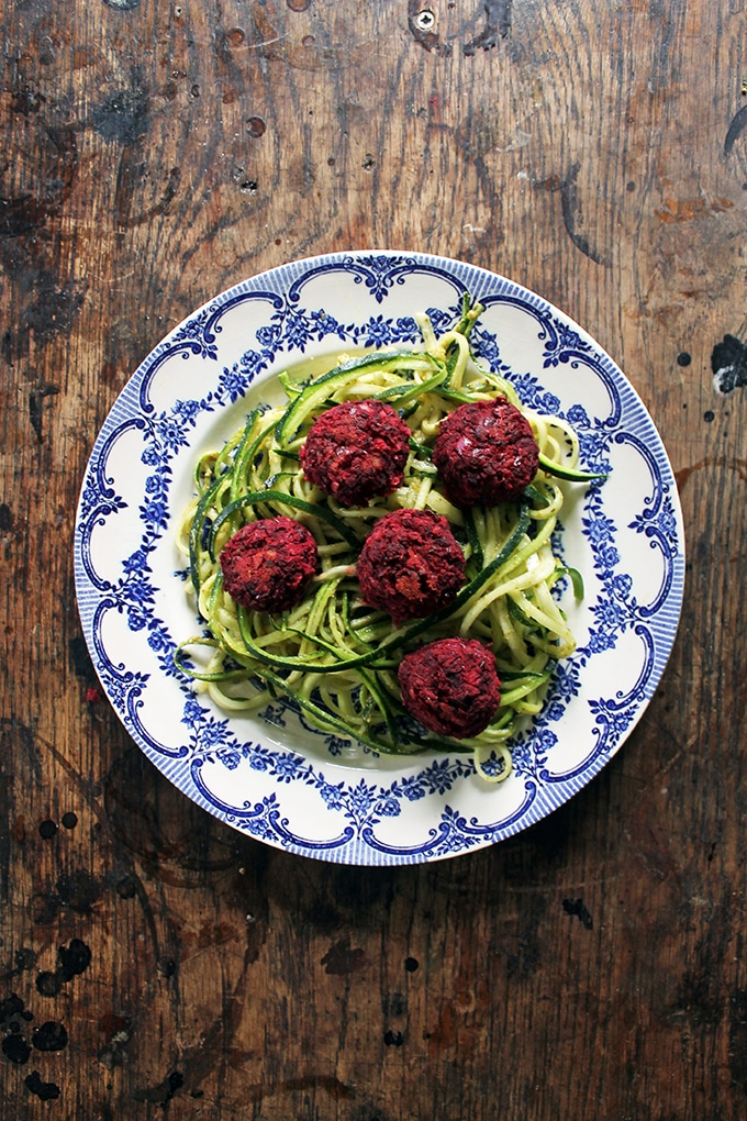 Vegan Courgetti and Beet Balls from Veggie Desserts