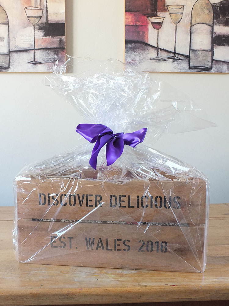 Discover Delicious Hamper Wooden Crate