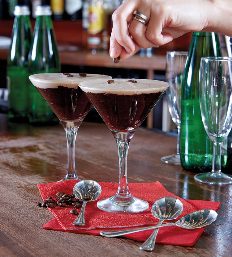 Espresso Martini - a light, chocolatey sponge topped with lashings of mascarpone and coffee beans