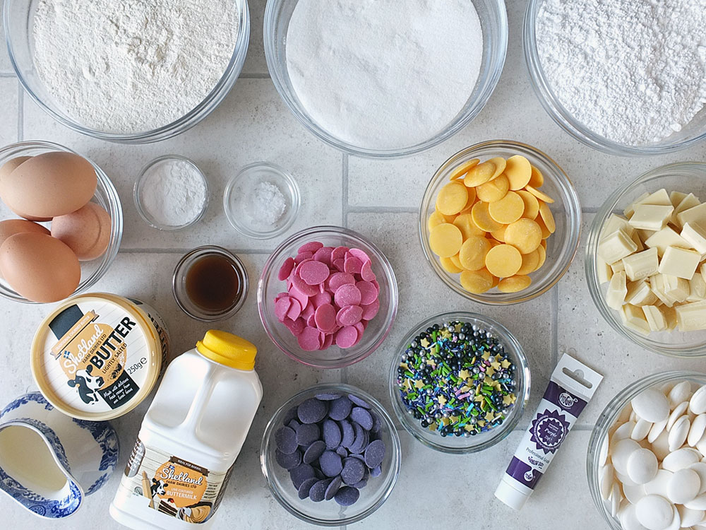 Ingredients for a Unicorn Cake