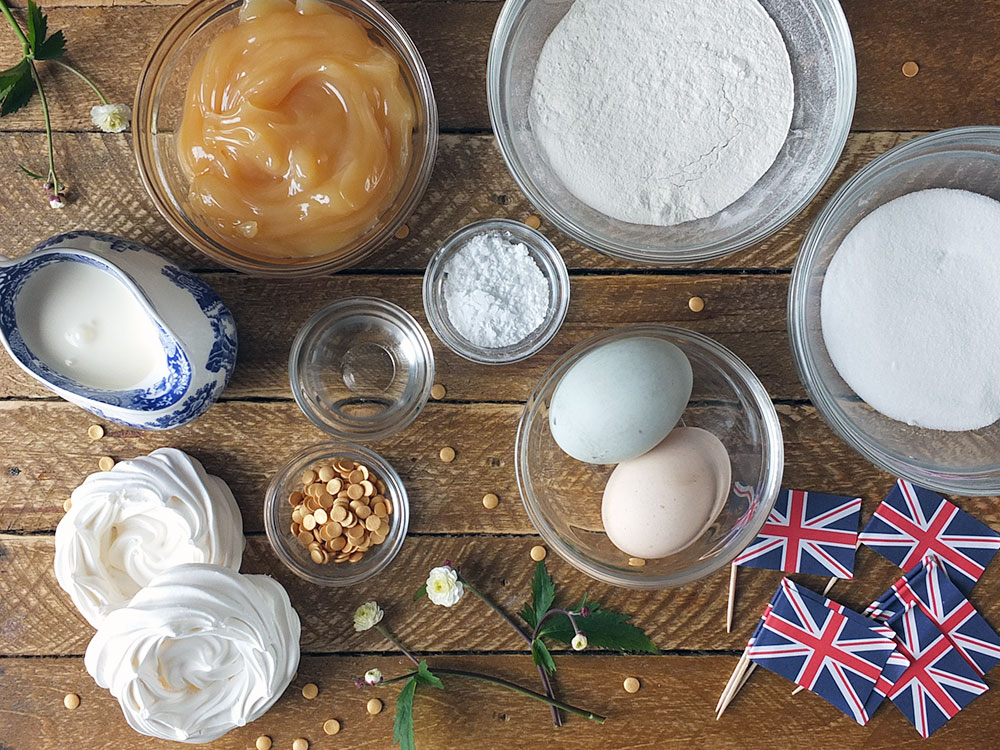 Ingredients to make a Royal Wedding Lemon & Elderflower Meringue Swiss Roll