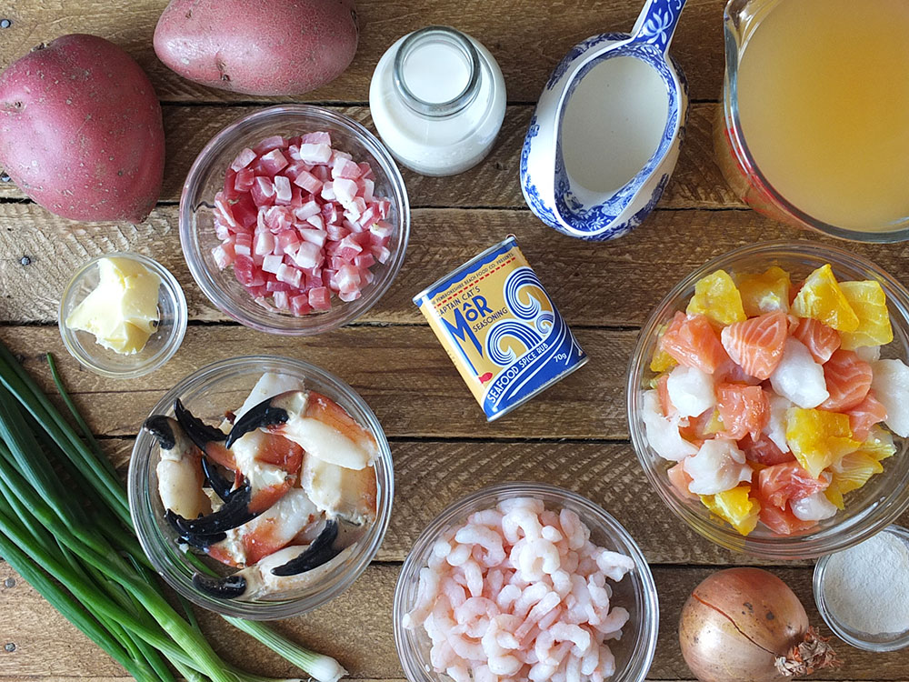 Ingredients you need for creamy seafood chowder