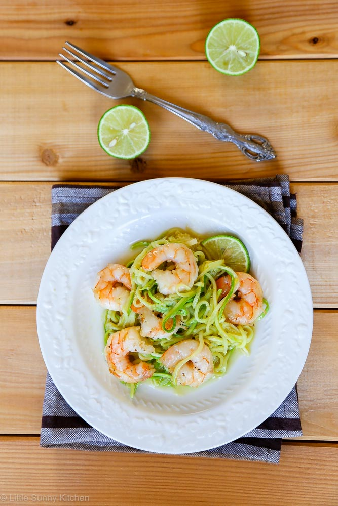 SKINNY SHRIMP SCAMPI WITH ZUCCHINI NOODLES from Little Sunny Kitchen