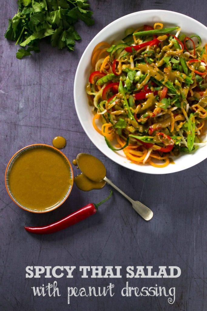 Spicy Thai Salad With Peanut Dressing (Vegan)
