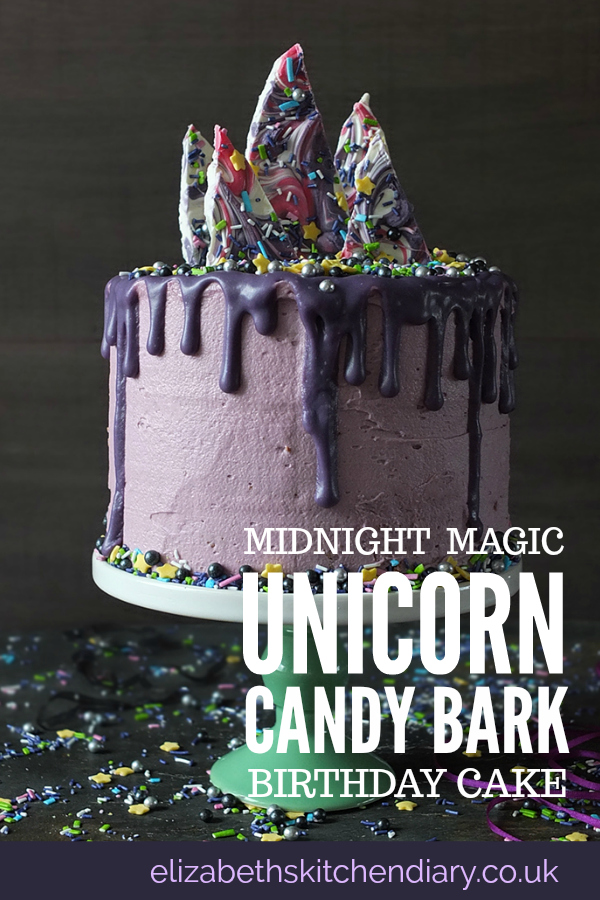 Midnight Magic Unicorn Cake with Candy Bark
