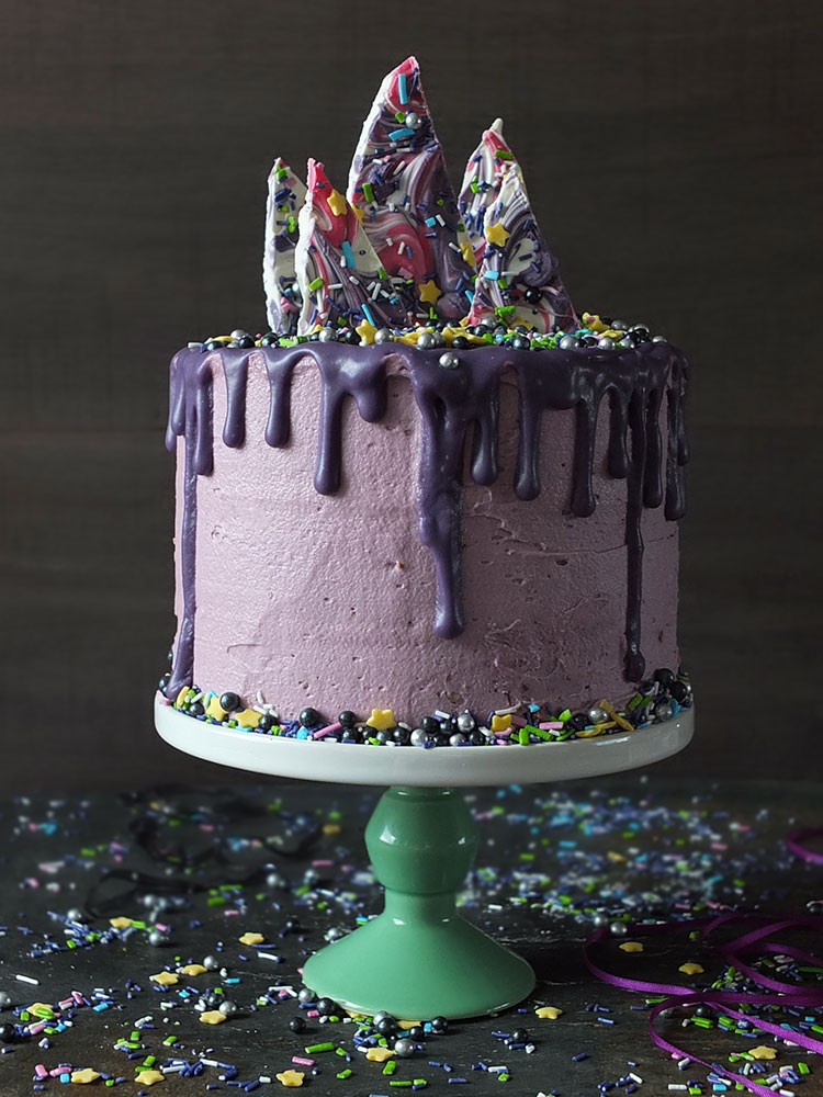 'Midnight Magic' 3-Layer Unicorn Candy Bark Birthday Cake