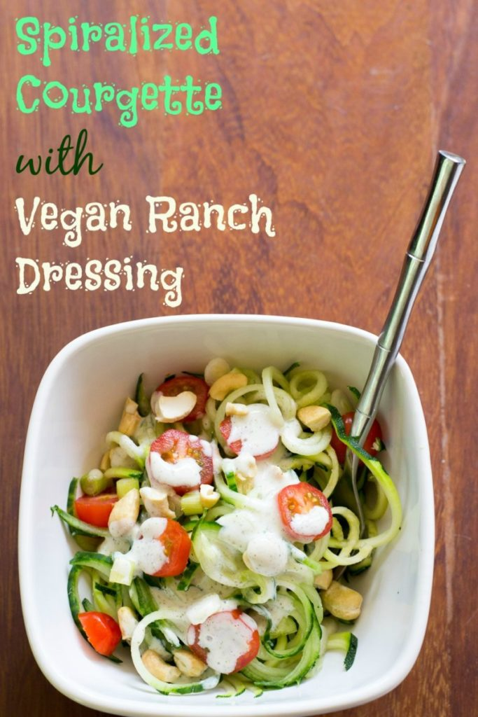 SPIRALIZED COURGETTE SALAD WITH VEGAN RANCH DRESSING from Planet Veggie