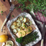 BBQ Salmon Parcels with Cornish New Potatoes, Asparagus, Lemon & Thyme