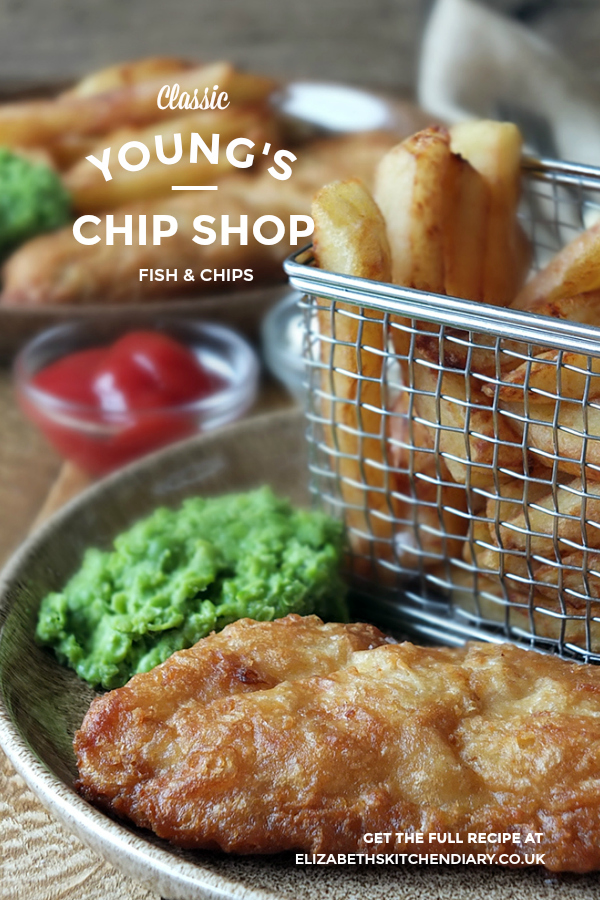 Classic Young's Chip Shop Fish & Chips with mushy peas and twice-cooked chips