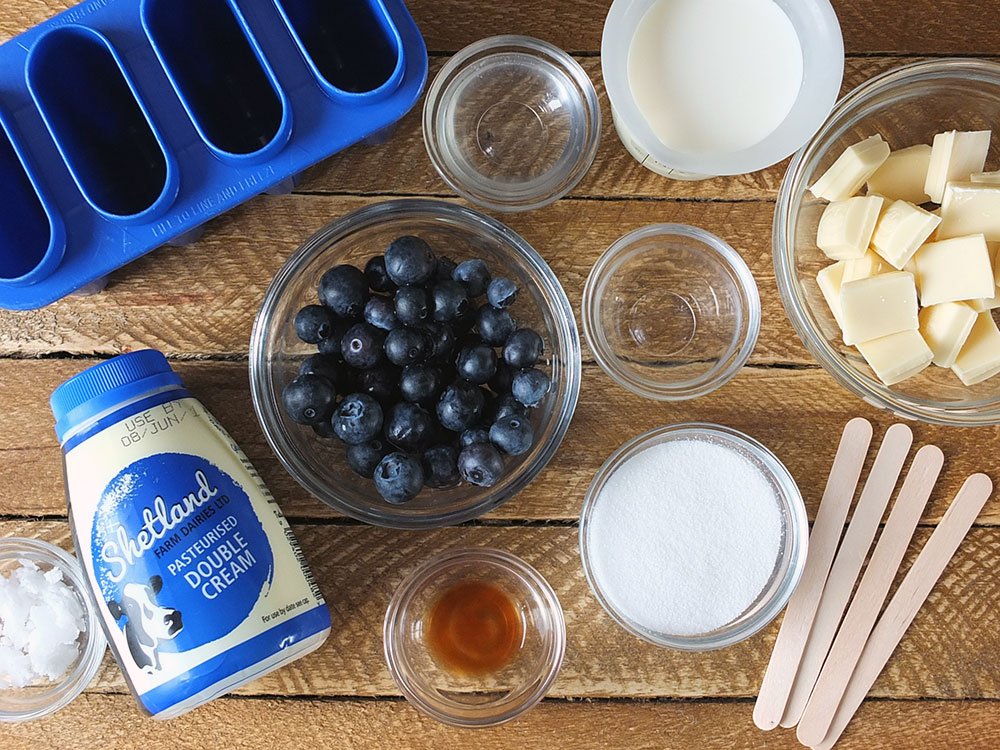 Ingredients for Blueberry and White Chocolate Ice Cream Popsicles