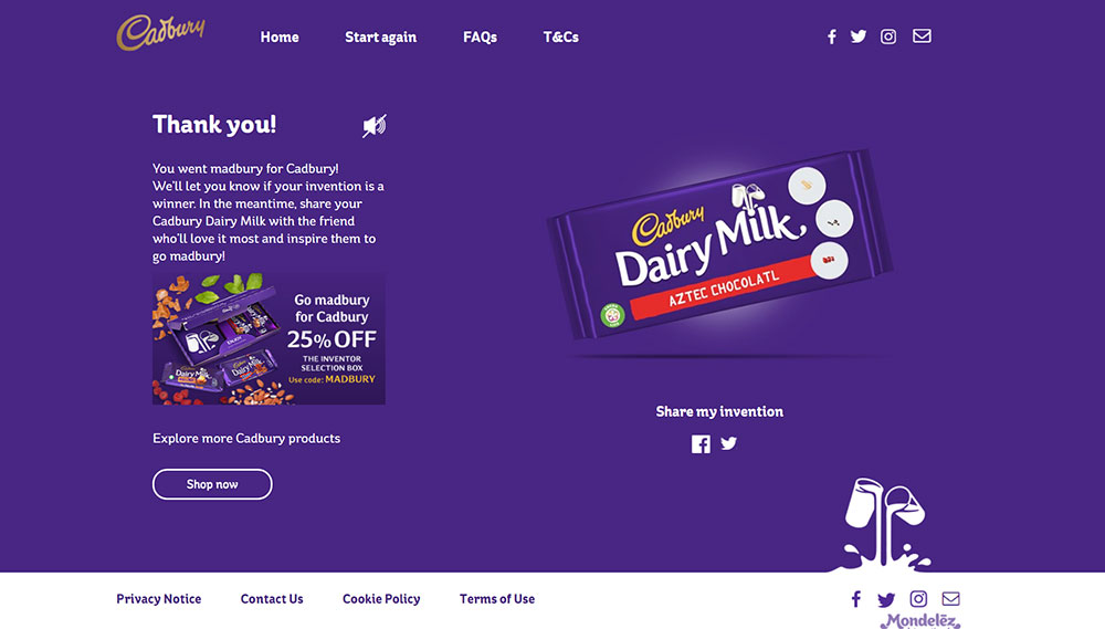 Go Madbury! Invent the Next Cadbury Dairy Milk!