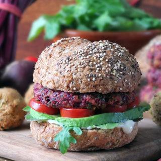 6-Ingredient Vegan Beetroot Falafel Burgers