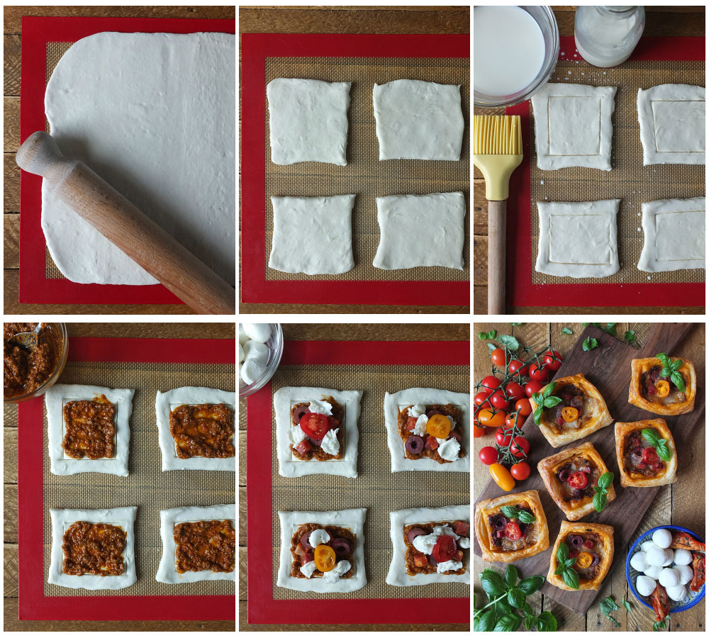 How to make sun-dried tomato pesto and mozzarella tarts - step by step instructions