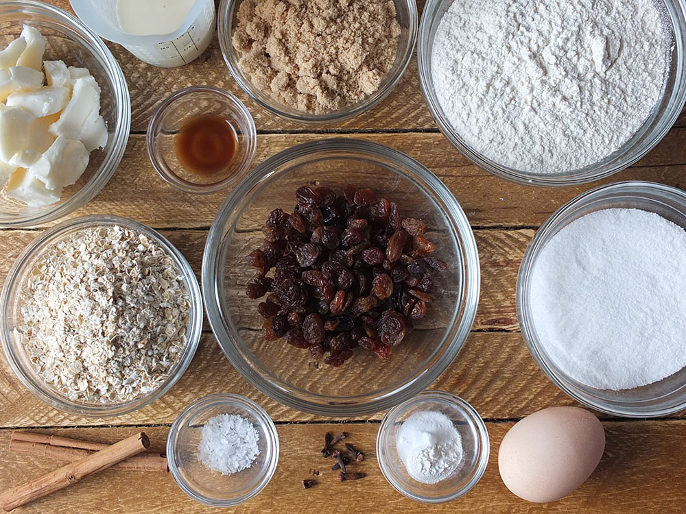 Ingredients needed for oatmeal raisin cookies