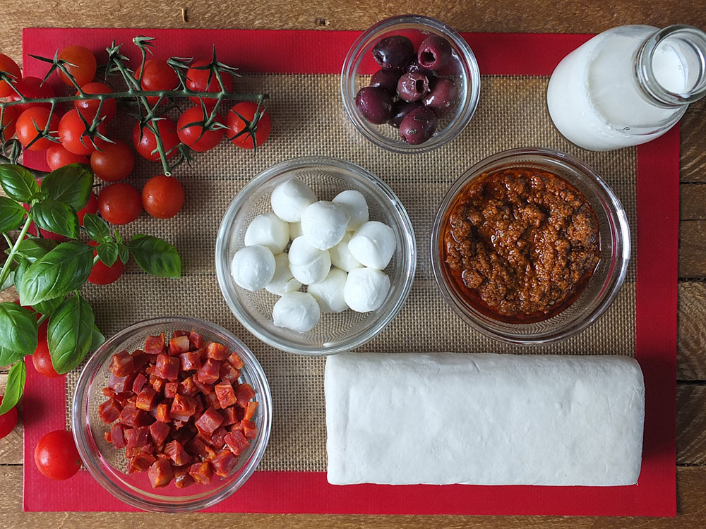 Ingredients Needed for Sun-dried Tomato Pesto & Mozzarella Tarts with Puff Pastry