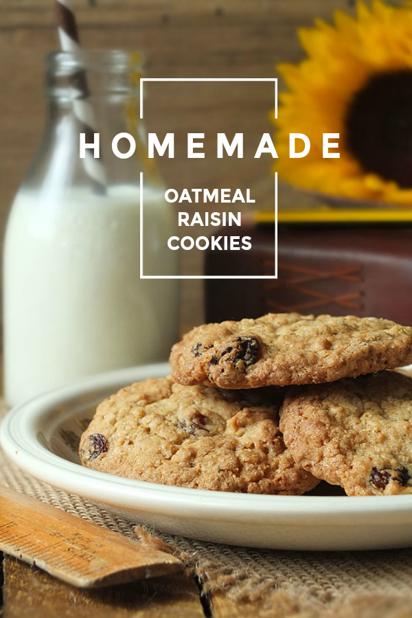 These crispy on the outside, soft and chewy on the inside oatmeal raisin cookies are delicately spiced with cinnamon and cloves.
